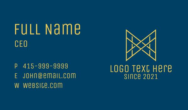 hospitality - M & W Gold Monogram  Business card horizontal design