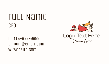Smiling Girl Character Business Card