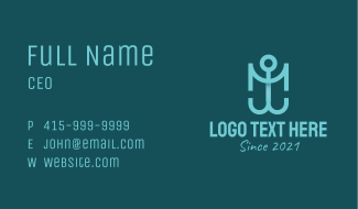 Blue Anchor Letter M Business Card