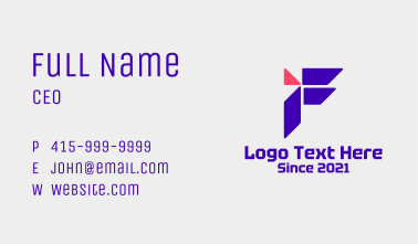 Tech Company Letter F  Business Card