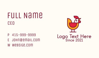 Rooster Poultry Bird Business Card