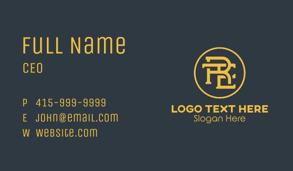 old fashioned - Circular Monogram Letter RTE Business card horizontal design