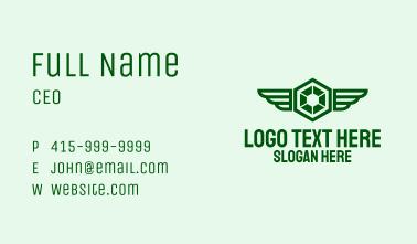 Green Hexagon Wings Business Card