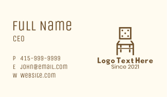 Dice Wooden Chair Business Card