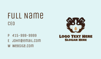 Brown Fluffy Guinea Pig Business Card