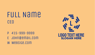 Blue Bars Lettermark Business Card