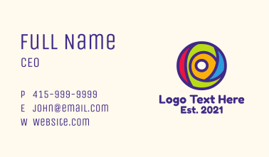 Colorful Letter O Business Card