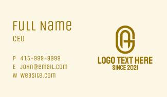 Gold A & G Monogram Business Card