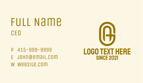 Gold A & G Monogram Business Card