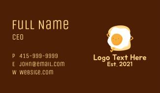 Egg Sandwich Mascot Business Card