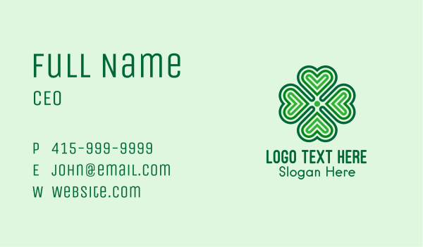 saint patrick - Lucky Clover Heart  Business card horizontal design