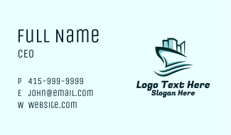 City Sailing Ship Business Card