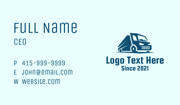garbage truck - Blue Dump Truck Vehicle Business card horizontal design