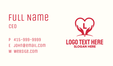 Hand Heart Charity Letter Business Card