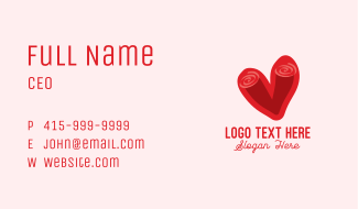 Swirly Romantic Heart Business Card