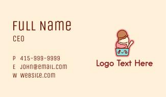 Ice Cream Sundae Mascot Business Card