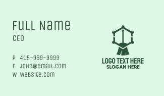 Green Broom Hexagon Business Card