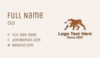 Brown Minimalist Bull Business Card