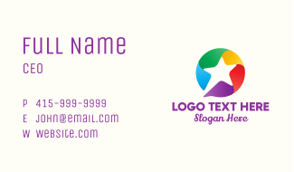 Colorful Star Message Business Card