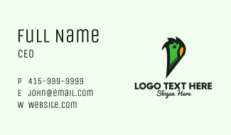 Green Parrot Letter P Business Card