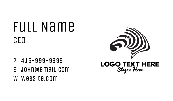 madagascar - Black & White Zebra  Business card horizontal design