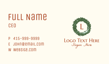 Winter Christmas Wreath Letter Business Card