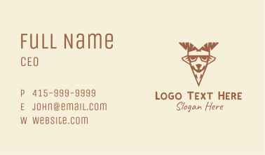 Brown Cool Goat  Business Card