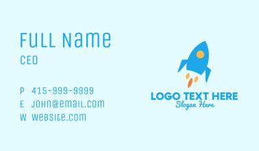 Blue Rocket Ship Business Card