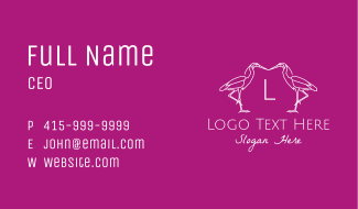 Minimalist Heron Letter Business Card