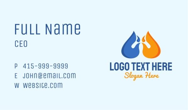 gas station - Water Fire Element Business card horizontal design
