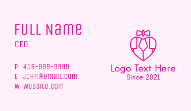 Bow Heart Piano Business Card