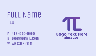 Pi Mathematical Letter L  Business Card