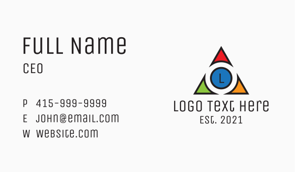 concept - Multicolor Triangle Tech Letter Business card horizontal design