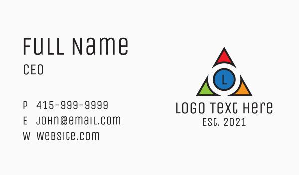 graphic design - Multicolor Triangle Tech Letter Business card horizontal design