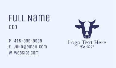 Cow Head Business Card