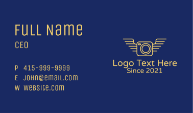 Yellow Camera Wings  Business Card