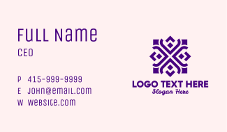 Square Floral Pattern Business Card