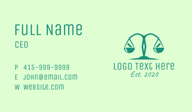 Teal Pharmaceutical Balance Scale Business Card