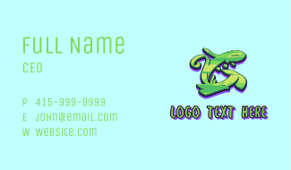 Green Graffiti Art Letter G Business Card