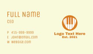 Orange Piano Keys  Business Card