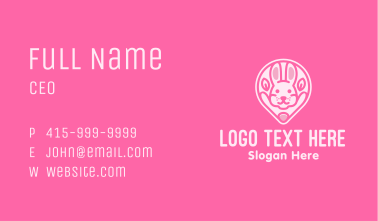 Pink Bunny Location Pin Business Card