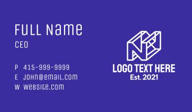 3D Letter N Business Card