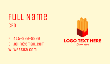 Isometric French Fries Business Card