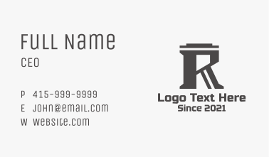 Gray Letter R Company Business Card