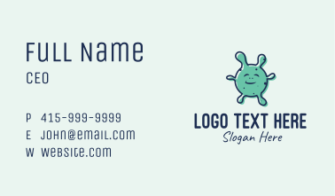 Teal Coronavirus Mascot Business Card
