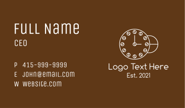 White Cafe Clock Business Card