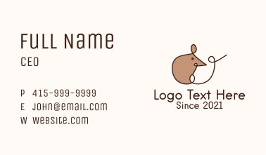 Monoline Cute Rat  Business Card