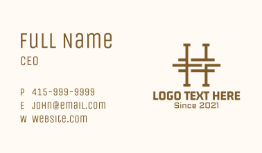 Letter H Carpentry Business Card