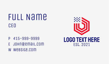 Hexagon American Flag Business Card