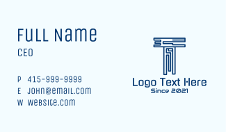 Digital Blue Letter T Business Card
